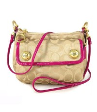 กระเป๋าสะพาย COACH  POPPY C SIGNATURE BUTTON CROSSBODY BAG  KHAKI HOT PINK 44089
