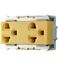 WNG15923-7Y เต้ารับคู่ เสียบขากลมแบน มีกราวด์ สีเหลือง