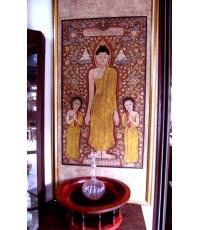 ภาพเขียนสีพระพุทธเจ้าพร้อมสาวก งานช่างเก่า