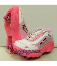 รองเท้าสเก็ต ZIP (ETN) สีชมพู Size 38-40 สามารถพับเก็บล้อเป็นรองเท้าได้