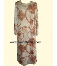 ชุดกระโปรงยาวผ้าชีฟองพิมพ์ลายโซ่ สีเนื้อ (มีสินค้าพร้อมส่ง)