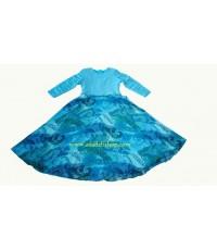ชุดยาวสีฟ้าแบบต่อเอว กระโปรงผ้าชีฟองพิมพ์ลายทรงย้วย  (พร้อมส่ง)