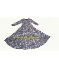 ชุดยาวผ้าชีฟองลายเสือสีดำแบบต่อเอว กระโปรงทรงย้วยครึ่งวงกลม (พร้อมส่ง)
