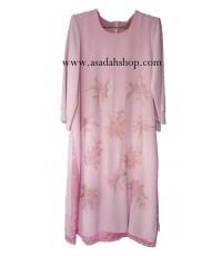 ชุดมุสลิมะห์แบบผ่าข้างสีชมพูหวาน ตกแต่งด้วยผ้าลูกไม้ ขายพร้อมฮิญาบ (มีสินค้าพร้อมส่งไซส์ 6)