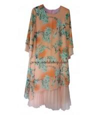 ชุดยาวผ้าชีฟองสีส้มพิมพ์ลายกระโปรงอัดพลีท ไซส์ใหญ่ (พร้อมส่ง)