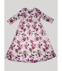 ชุดยาวผ้าชีฟองพิมพ์ลาย พื้นสีขาวดอกสีแดง (พร้อมส่ง)