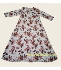 ชุดยาวผ้าชีฟองพิมพ์ลาย พื้นสีขาวดอกสีน้ำตาล (พร้อมส่ง)