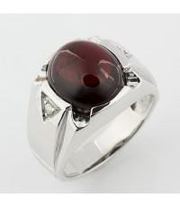 (ขายแล้ว)แหวนเงินเท้ 925 ฝังพลอยโกเมนหลังเบี้ย สีแดงแก่ก่ำ หนัก10.97 กะรัต ไซส์ 58