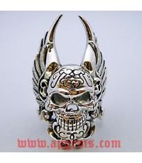 แหวนเงินแท้รูปหัวกะโหลกติดปีก (The winged Biker skull ) รมดำ ขัดเงา หนัก 24 กรัม ไซส์ 60-62