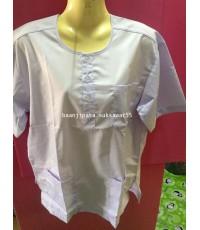 เสื้อกุยเฮงผู้ชาย แขนสั้น สีขาว ผ้าTC เบอร์M