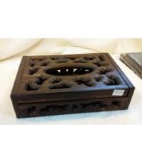 กล่องทิชชูป๊อบอัพเล็ก ไม้สักแกะลายไทย ขนาด 13 * 21 * 2.5 ซม.