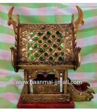 ศาลาไทยประดับลวดลายเส้นทองกระจกสี ไม้สัก ขนาดเล็ก ขนาด  6 * 7.5 * 9 นิ้ว