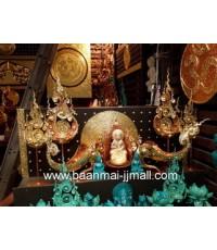 ชุดเทียนหอมอะโรม่า งานแกะสลักโลหะปิดแผ่นทองคำเปลว มีหลายรูปแบบ