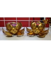 ดอกบัวทองแกะสลักโลหะปิดแผ่นทองคำเปลว ใส่เทียนหอมอะโรม่า  ขนาด 4 นิ้ว สูง 2.5 นิ้ว