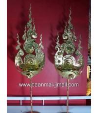 พัดฉัตรทองลายไทยแกะสลักโลหะปิดแผ่นทองคำเปลว ใส่เทียนหอมอะโรม่า  ขนาด 4 นิ้ว สูง 15 นิ้ว