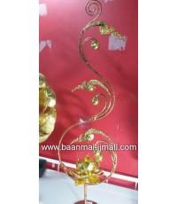 ช่อดอกไม้ทองประดับดอกบัวแกะสลักโลหะปิดแผ่นทองคำเปลว ใส่เทียนหอมอะโรม่า 2 ขนาด