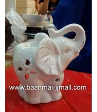 ตะเกียงเทียนน้ำหอมอะโรม่าเซรามิค รูปช้าง ขนาด 5 นิ้ว สูง 5 นิ้ว
