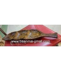จานรูปปลา 3 ช่อง ไม้มะม่วงสีลายน้ำ ขนาด 4 * 18 นิ้ว  สูง 1.5 นิ้ว