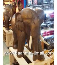 ช้างไม้แกะสลักมือสีไม้สัก ขนาด สูง 22 นิ้ว หรือ 56 ซม. ยาว 22 นิ้ว หรือ 56 ซม.
