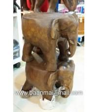 ช้างอึ่งไม้แกะสลักมือเป็นเก้าอี้นั่ง ขนาด 12 นิ้ว สูง 10 นิ้ว