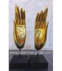 มือพระพุทธมหามงคลปิดทองคำเปลวตั้งบนแป้นไม้ 2 ขนาด