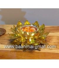 ดอกบัวทองแกะสลักโลหะปิดแผ่นทองคำเปลว ใส่เทียนหอมอะโรม่า 2 ขนาด