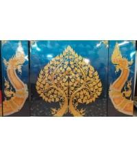 เฟลมภาพชุดต้นโพธิ์ทองพญานาคราชคู่ซ้ายขวาชุด 3 ภาพ