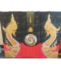 เฟลมภาพชุดพญานาคราชคู่ซ้ายขวาเลขหนึ่งเก้าจุดมหามงคลชุด 3 ภาพ