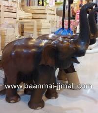 ช้างไม้แกะสลักมือชูงวง ขนาด สูง 22 นิ้ว ยาว 31 นิ้ว