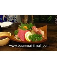 จานไม้ทรงญี่ปุ่น เสริฟ ซาซีมิ หรือ ยำต่างๆ