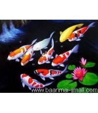 เฟลมภาพวาดสีอะคลีลิคปลาคร๊าฟ 9 ตัวและดอกบัว