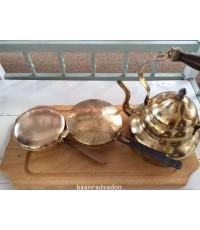 กะทะทองเหลืองมีฝาปิด ใช้ต้ม-ทอด หรือดัดแปลงใช้เก็บของจุกจิกตั้งโต้ะดูดี