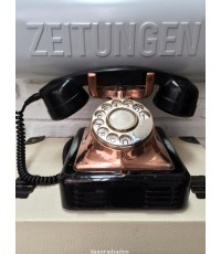 โทรศัพท์โบราณ งานเหล็ก สีดำเงา สแตนเลสเคลือบทองแดง หูฟังแบคก้าไลท์
