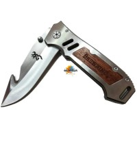 Browning Quick opening folding knife steel natural shadow wood  มีดพับประกับไม้แท้