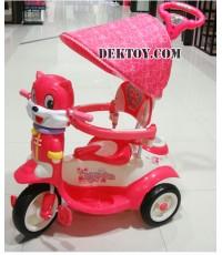 รถสามล้อเด็กหน้าแมวก้นใหญ่ สีชมพู BCQB0002ML
