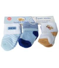 ถุงเท้าเด็กแรกเกิด Luvablefriends แพ็ค 3 คู่ เด็กชาย