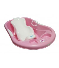 กะละมังอาบน้ำเด็กโมเดิร์นแคร์สีชมพู XL พร้อมเก้าอี้อาบน้ำเด็กสีขาว