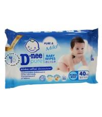เบบี้ไวพ์ดีนี่-D-nee Pure เพียวแอนด์มายด์ 40 ชิ้น สีฟ้า