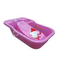 Fin babies plus อ่างอาบน้ำเด็กมีรูระบายน้ำ A9C พร้อมที่รองอาบน้ำเด็กฟาร์ลิน A2 สีชมพู