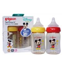 PIGEON พีเจ้น ขวดนม Mickey Mouseคอกว้างสีชา5ออนซ์PPSUคู่2ขวด