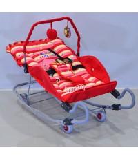BEJOY เปลโยกเด็กขาสปริง BJ A82/1 ลายZoo marchสีแดง