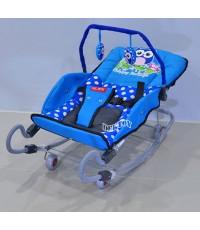 BEJOY เปลโยกเด็กขาสปริง BJ A82/1 ลายนกฮูกสีฟ้า