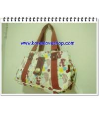 กระเป๋า lingky รุ่น sweet ลายดาวเดือนสีครีม