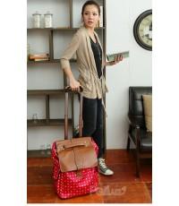 *พร้อมส่ง* กระเป๋าเดินทาง PG สีแดงเชอรี่ ล้อลาก ถือและสะพายได้ งานน่ารัก สำหรับเดินทางไกลค่ะ