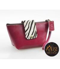 กระเป๋าเครื่องสำอางค์ MUSE สีชมพูบานเย็น งานหนังแท้ทั้งใบ งานน่ารักน่าใช้สุดๆ