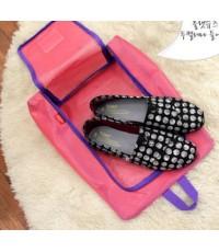 Shoes Pouch กระเป๋าใส่รองเท้าตาข่าย สีชมพู จัดเก็บได้ 1 คู่ กันน้ำได้ พกพาสำหรับเดินทาง