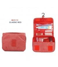 Toiletry Pouch กระเป๋าใส่อุปกรณ์อาบน้ำ ของใช้ส่วนตัว สีแดง ลายคลาสสิค สำหรับเดินทาง