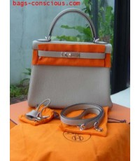hermes kelly28cm/palladium hardware/togo leather/light gray