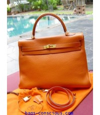 hermes kelly orange35cm clemence leather with gold hardware
