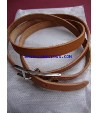 hermes leather bracelet in cowhide with palladium plated3MM